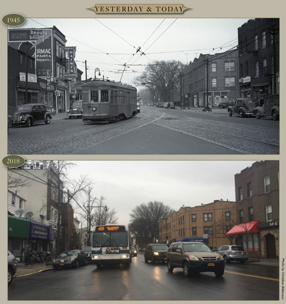 Yesterday & Today: Grand Avenue at Flushing Avenue, looking east, 1945