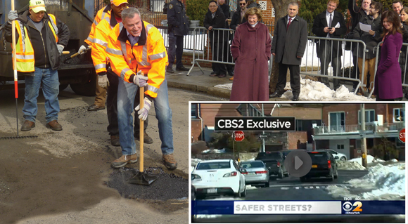 Mayor Fills Pothole in Maspeth then Peals Out: