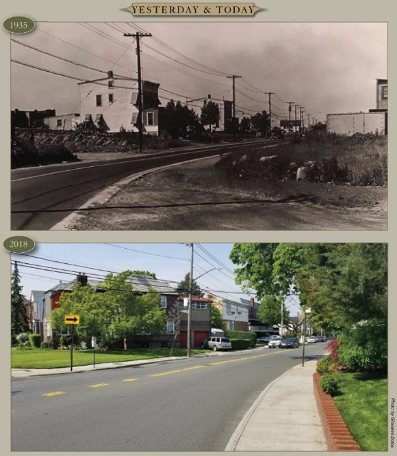 Yesterday & Today: Dry Harbor Road at 82nd Place looking northeast, 1935