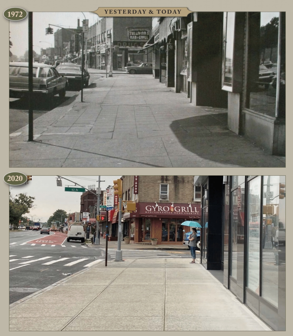 Yesterday & Today – Woodhaven Blvd north of 63rd Ave, looking south, 1972