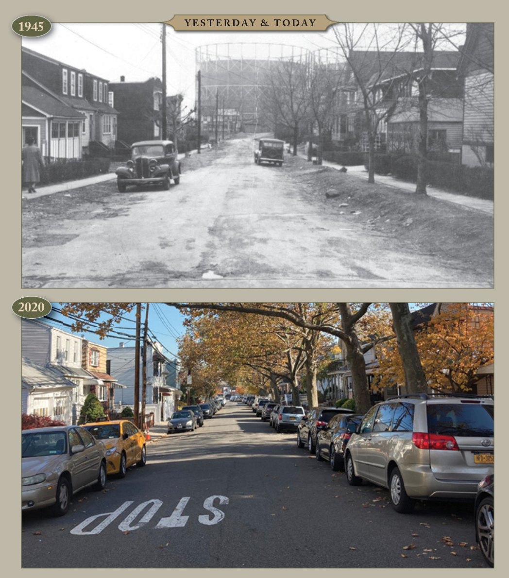 Yesterday & Today: 53rd Road, facing east from 73rd Place
